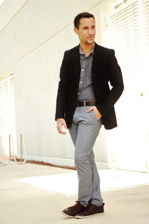 black Zara suit - crimson Zara shoes - gray PacSun pants
