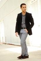 black Zara suit - crimson Zara shoes - gray PacSun pants