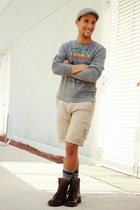 gray PacSun sweater - brown Kenneth Cole boots - beach volcom shorts
