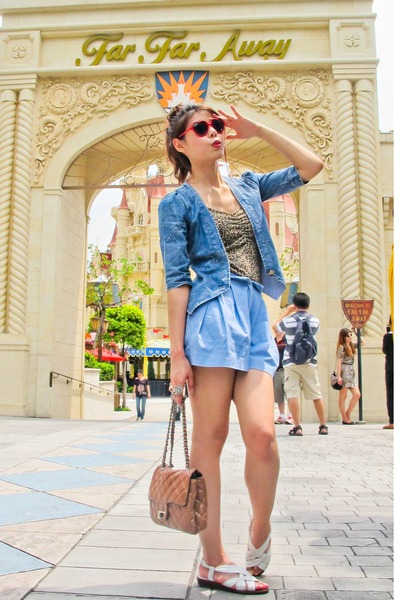 denim jacket Frada Paris jacket - bag - denim Playhound by Greyhound shorts
