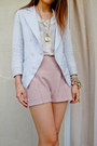 Bracelet-blazer-zara-shorts-miss-selfridges-top-apple-necklace