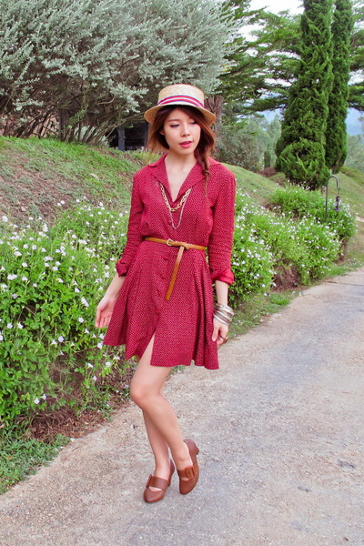 boater hat Tadum hat - vintage dress - necklace - Zara belt - bracelet - heels