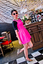 leopard Topshop heels - hot pink Zara dress - Ksubi sunglasses