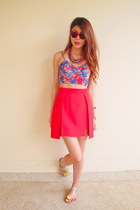 floral crop top LA Boutique top - milin skirt - H&M necklace