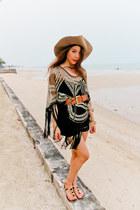 sandals reflexion shoes - fringe dress Zara dress - H&M hat - Primark belt