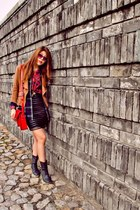 shirt - red tartan Zalora shirt - lace up boots Aldo boots - K-first blazer