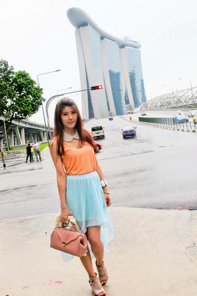 Paa bag - bracelet - Topshop top - skirt - necklace - Topshop heels