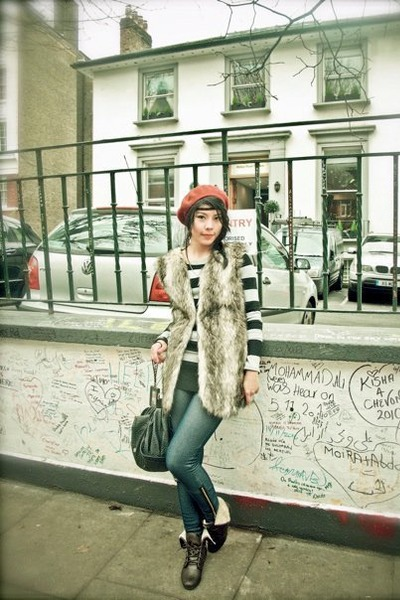 ankle boots kick shoes - H&M hat - jeans Chaps leggings - faux fur Primark vest