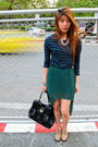 Necklace-platform-shoes-ysl-bag-skirt-bracelet-zara-top