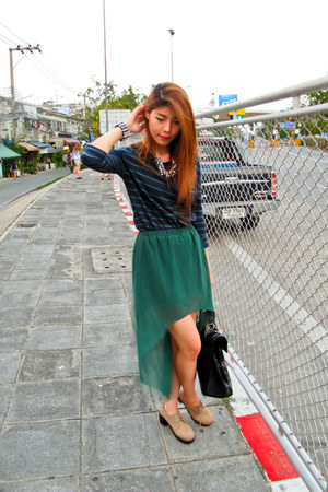 skirt - platform shoes - YSL bag - necklace - bracelet - Zara top