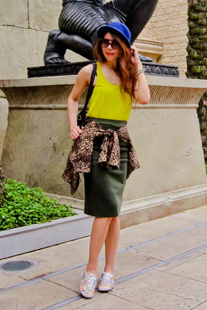 leopard Zara jacket - H&amp;M hat - Karen Walker sunglasses - neon yellow Zara top