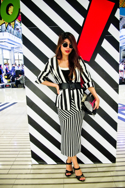 stripe kaka mee jacket - round Ksubi sunglasses - stripe Whimsical top - skirt