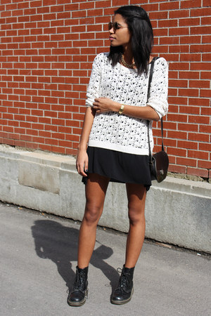 black brandy melville dress - ivory crochet abercrombie and fitch sweater