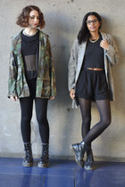 olive green military thrifted vintage jacket - gray cropped Monki top