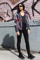 black American Apparel top - deep purple floral print H&M vest