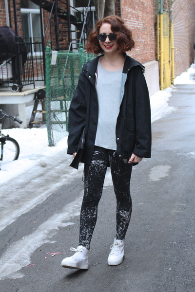 black thrifted vintage coat - black splatter H&M leggings