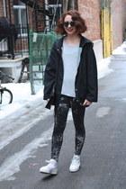 black thrifted vintage coat - black splatter H&M leggings