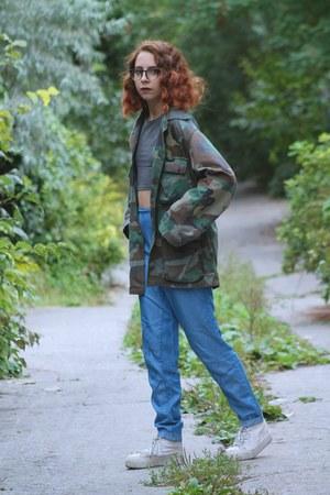dark green military thrifted vintage jacket