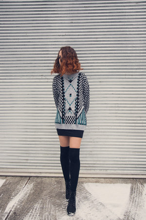 silver thrifted vintage sweater