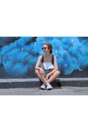 aquamarine cropped Zara top