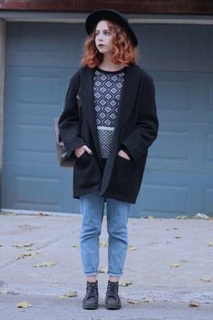 black thrifted vintage coat