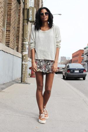 eggshell Cecice sweater - beige H&M romper - burnt orange asos sneakers