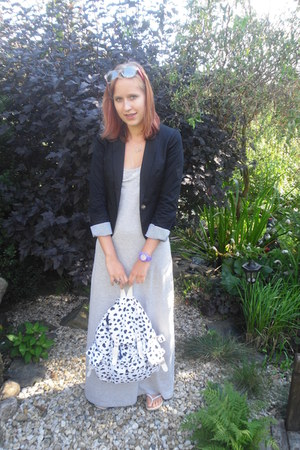 black H&M blazer - heather gray maxi dress Terranova dress - white no brand bag