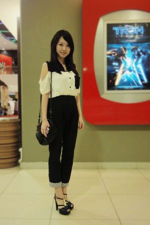 white shirt - black pants - black Mango purse - blue Charles & Keith shoes