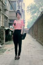 pink top - black pants - black Mango purse - black Aldo shoes