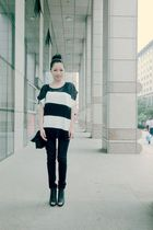 white Forever 21 accessories - black top - black Mango jeans - black Forever 21