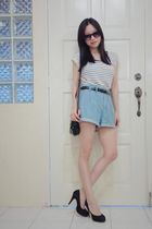 white Mango top - black belt - blue shorts - black purse - black sunglasses - bl