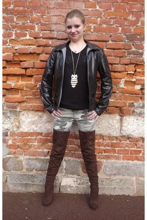 black wool Kiabi sweater - brown Farenheit boots - dark khaki Pimkie pants