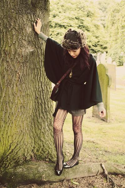 COW coat - Portabello Market tights - vintage bag - thrifted shorts - jumper