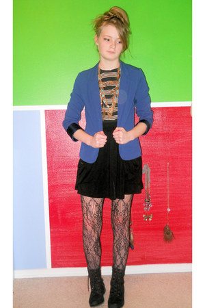 black Old Navy boots - blue Nordstrom blazer - black Forever 21 skirt