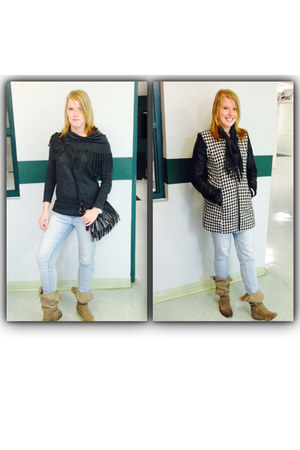 houndstooth foreign exchange coat - Express boots - JCPenney jeans