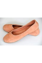 peach suede elf flats