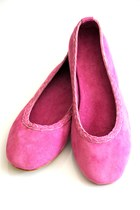 bubble gum suede elf flats