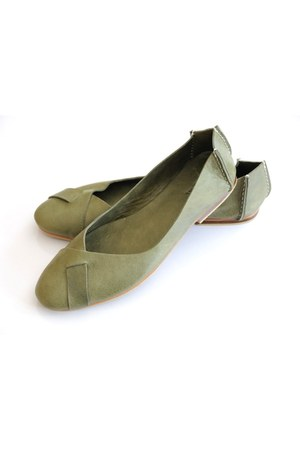 olive green leather elf flats