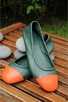 green leather elf flats