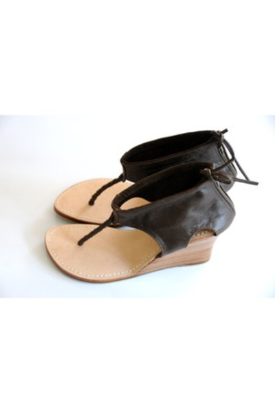 dark brown leather elf wedges