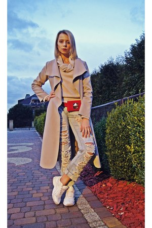 camel wool Zara coat - red leather Reebok boots - boyfriend jeans Zara jeans