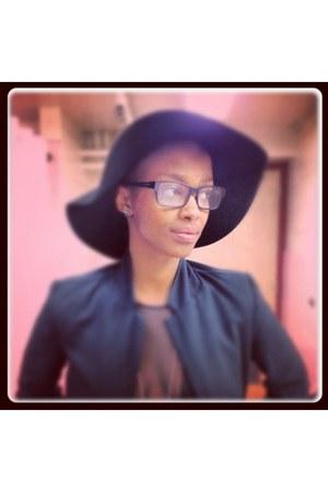 American Apparel bodysuit - summer hat Zara hat - black Burberry glasses