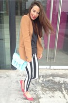 tan blazer Zara blazer - Topshop jeans - H&M bag