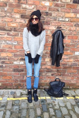heather gray warehouse jumper - black biker boots Aldo boots