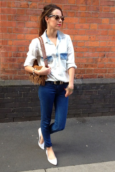 denim shirt Zara shirt - Urban Outfitters sunglasses - Carvela flats