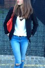 White-deep-v-neck-top-warehouse-blouse-sky-blue-ripped-jeans-jeans