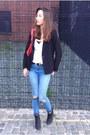 Sky-blue-ripped-jeans-jeans-black-black-blazer-american-apparel-blazer