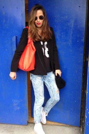 H&M t-shirt - River Island jeans - black blazer American Apparel blazer