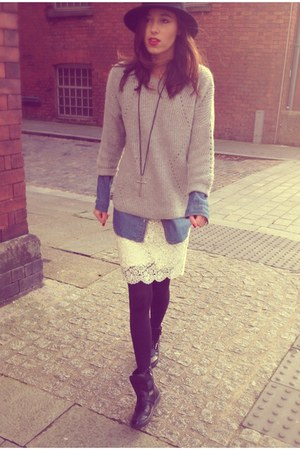 white H&M skirt - black Aldo boots - black H&M hat - blue denim shirt H&M shirt