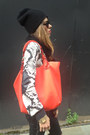 Black-mango-sweater-black-beanie-bdg-hat-red-red-bag-oasis-bag